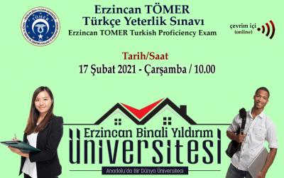2021/Şubat Erzincan TÖMER Türkçe Yeterlik Sınavı Takvimi (2021/February Erzincan TOMER Turkish Proficiency Exam Schedule)